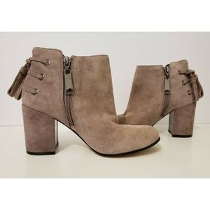 Rachel Zoe Twiggy Boots Suede Leather Heel Booties